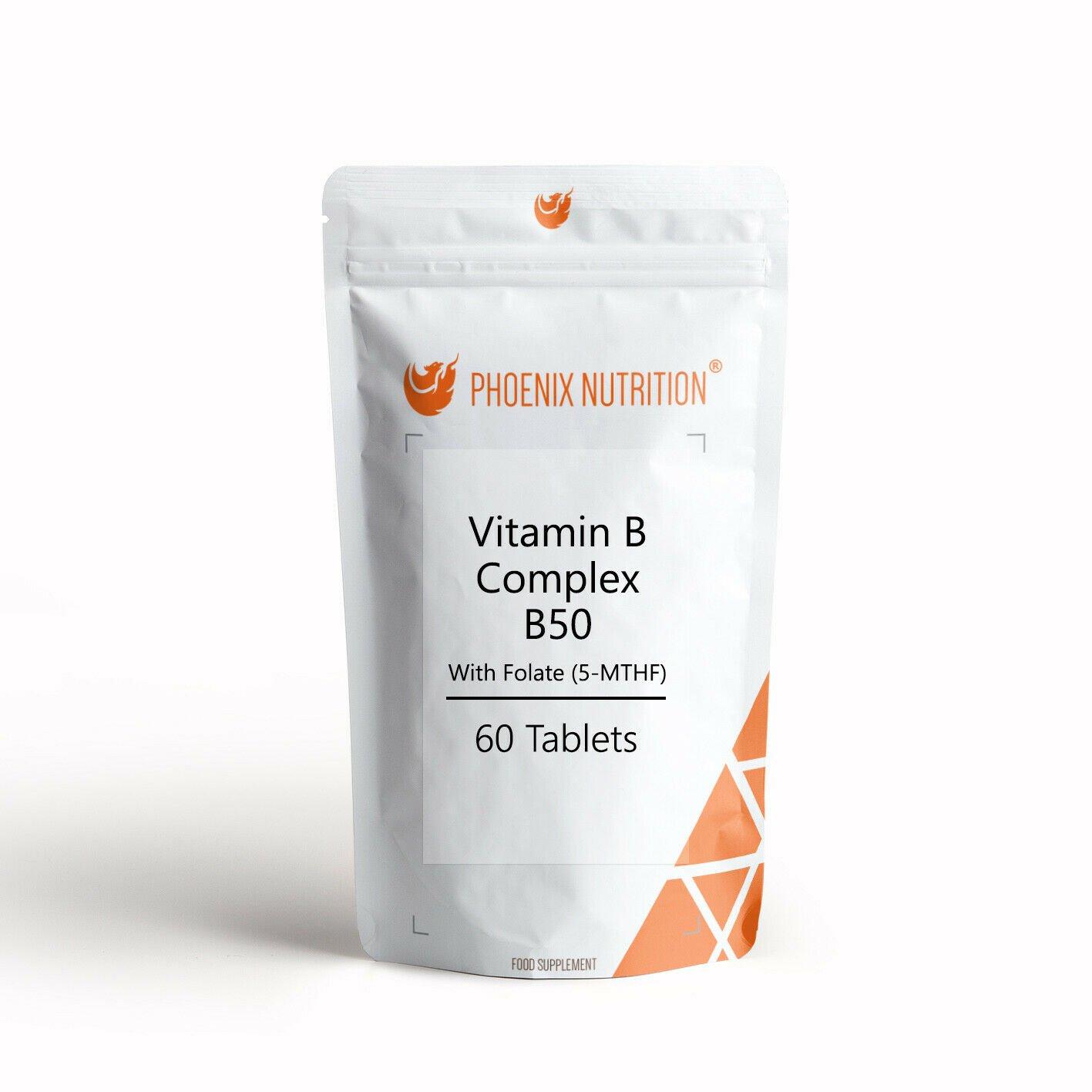 Vitamin B Complex B50 x 60 Tablets - with L-5-MTHF Methyl Folate High Strength