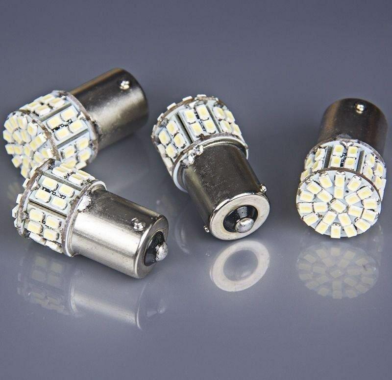 4x Ba15s 1156 White Car Rear Turn Light Signal Ultra-bright 50 SMD LED Bulb 12V