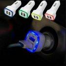 LED Dual USB Car Charger 2 Port Adapter Cigarette Socket Lighter For Cell Phone