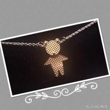 """""""Textured Bear"""" Stainless Steel Necklace& Pendent"""