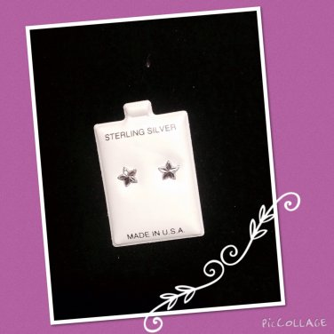 """Shinning star"" Silver stud Earrings"