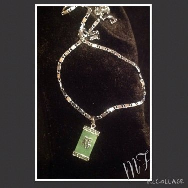 "Jade of ""Happiness"" Silver necklace set"