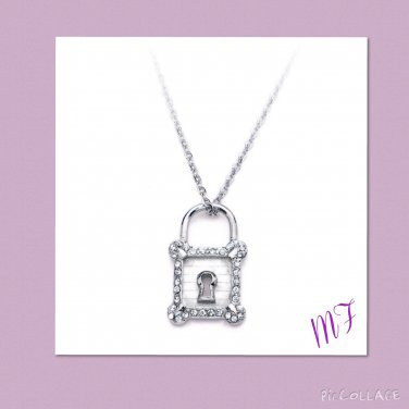 """Cz Lock"" Stainless steel Necklace & Pendent"