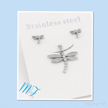 """Bedazzle Dragon Fly"" stainless steel pendent set"