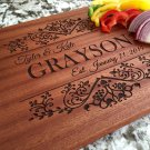 Personalized Beautiful Large Mahogany Cutting Board - Grayson Style