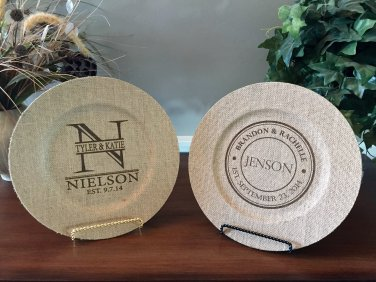 Personalized Decorative Burlap Plates