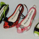 "Lot of 4 Ceramic Fun Shoe Ornaments Ceramic Cinderella Shoe 4"" Shoes Lot 3"