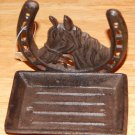 """Horse with Horseshoe Western Cast Iron Soap Dish Wall or Sink Brown 4.5X3.25"""""""