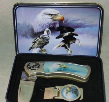 """Eagle Folding Knife & Money Clip  Gift Boxed 7"""" open Wildlife Folding Knife"""
