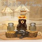 "Bear Salt & Pepper Shaker Set 7""x5"" Resin Holder Glass 3"" Shakers Bear with Gun"