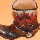 Western Resin Cowgirl  Boot Collectible Plant, Pen Pencil Holder Red & Brown