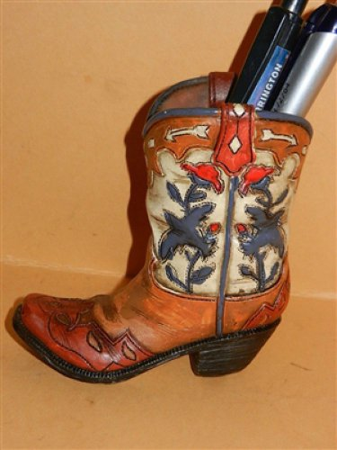 Western Resin Cowgirl  Boot Collectible Plant, Pen Pencil Holder with Blue Bird