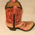 Western Resin Cowgirl  Boot Collectible Plant, Pen Pencil Holder Pink & Beige