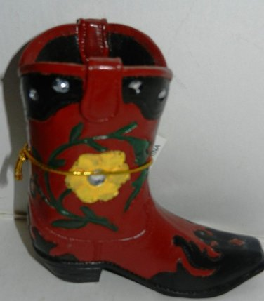 Western Resin Cowboy Boot Collectible Plant, Pen Pencil Holder Red & Yellow Flow