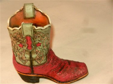 Western Resin Cowboy Boot Collectible Plant, Pen Pencil Holder Pink & Green