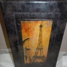 Storage Hide-away Book Box 9x6x2 Faux Leather Cover Eiffel Tower Multi Color Con