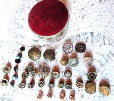 VICTORIAN BRASS BUTTONS VICTORIAN PIN CUSHION VINTAGE BUTTONS