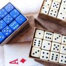 VINTAGE DICE GAMBLING DICE ORIGINAL BOX POKER DICE FRENCH BAKELITE GALALITH