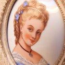 VINTAGE LIMOGE PORTRAIT PORCELAIN CAMEO VICTORIAN WOMAN