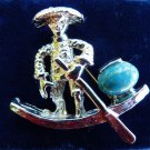 VINTAGE BROOCH PAGODA BOAT PIN TURQUOISE STONE