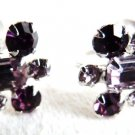 VINTAGE SHERMAN EARRINGS AMETHYST CRYSTALS SHERMAN JEWELRY