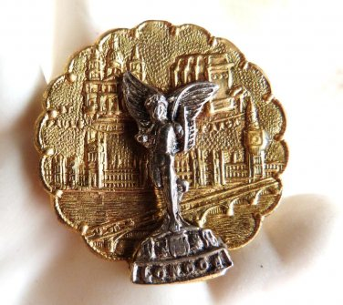 LONDON MONARCHY MONUMENT BROOCH VINTAGE COMMEMORATIVE BROOCH SOUVENIR PIN