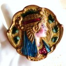 ANTIQUE EGYPTIAN JEWELRY BROOCH GOLD CLEOPATRA ENAMEL HAND CHASED REPOUSSE