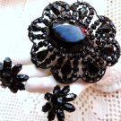 JET BLACK MOURNING JEWELRY DEMI PARURE BLACK GLASS BROOCH 19th CENTURY