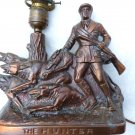 VINTAGE SPELTER LAMP THE HUNTER