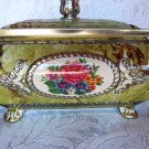 VINTAGE COOKIE TIN CHEST CONFECTIONARY ROYALTY CHEST QUEENS CROWN SEW CHEST