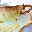 VINTAGE CASTLE JAPAN TEACUP  SAUCER SEASHELL FOOTED TEA CUP  SAUCER