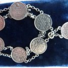 SILVER COIN BRACELET 1838 CANADIAN 5 CENT COIN ANNAS INDIA COIN