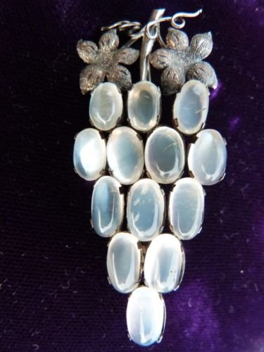 MOONSTONE VINTAGE BROOCH MOONSTONE JEWELRY STERLING SILVER BROOCH 100YRS