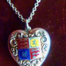 STERLING SWEETHEART REPOUSEE SILVER BRITISH ROYAL COAT OF ARM NECKLACE WWI
