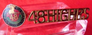 MILITARY 48TH HIGHLANDERS 10KT GOLD RING SHOULDER TITLE