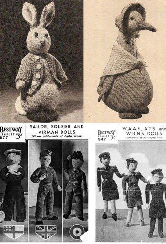 4 X Vintage Knitting Patterns On Cd Peter Rabbit Jemima Duck Ww2