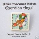 Autism Awareness - Puzzle Piece Ribbon Guardian Angel Pin - Dark Brown Hair FREE SHIPPING