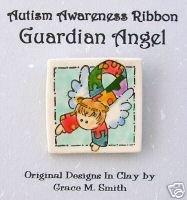 Autism Awareness -Puzzle Piece Ribbon Guardian Angel Pin - Light Brown Hair FREE SHIPPING!!