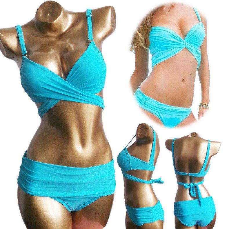 2pcs Sexy Bikini Set Blue Women Padded Draped Push-Up Bikinis Sexy Swimsuit Size S/M/L Free Shipping