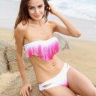 Sexy Red Gradient Padded Bandeau Fringe Bikini Sexy Swimwear Women Swimsuit 2 PCS Hot Bikini Set