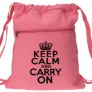 Keep Calm Carry On Backpack Pink Drawstring Bag