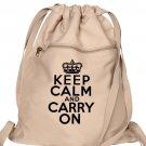 Keep Calm Carry On Backpack Tan Drawstring Bag