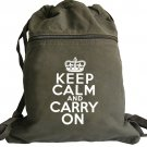 Keep Calm Carry On Backpack Green White Bag