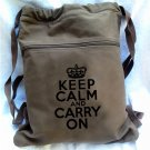 Keep Calm Carry On Backpack Brown Drawstring Bag