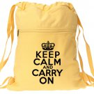 Keep Calm Carry On Backpack Yellow Book Bag