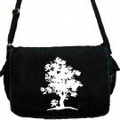 Tree Messenger Bag Large Black Canvas Nature Bag
