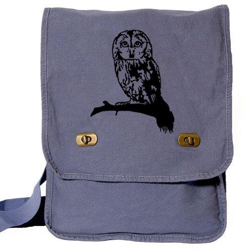 Cute Owl Messenger Bag Blue Canvas