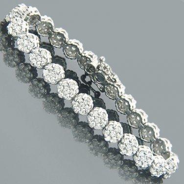14 Karat White Gold Womens Diamond Cluster Tennis Bracelet 8.25ct