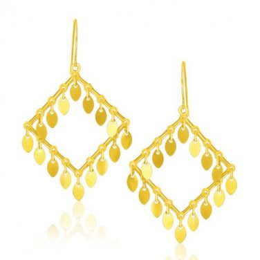 14K Yellow Gold Diamond-Shape New Earrings with Marquise Sequins - Fine Jewelry
