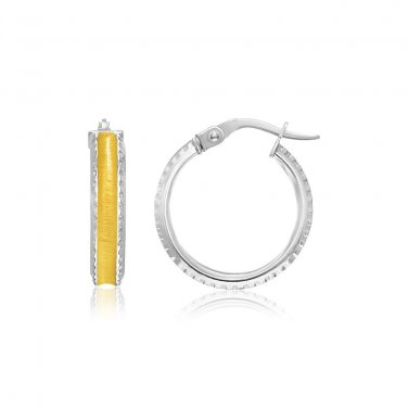 14K Two-Tone Gold Hoop Earrings with Textured Detailing - Genuine Fine Jewelry